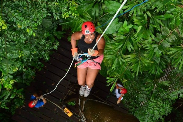 Rappeling in the rainforest