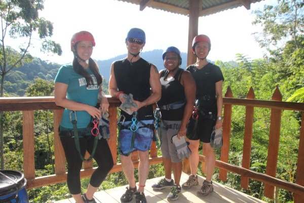 Group getting ready to zipline