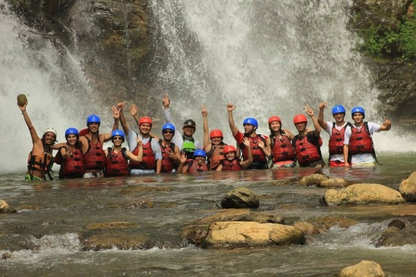 Group photo at the waterfall