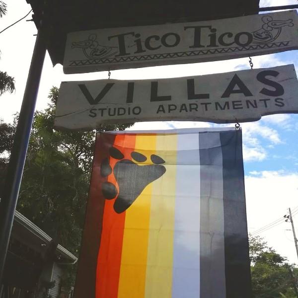 TicoSos flag outside Tico Tico Villas for Bear Weekend 2019